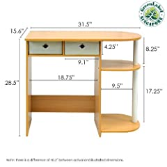 Furinno 10007 (11193) Go Green Home Laptop and Notebook Computer Desk/Table, Beech/Ivory
