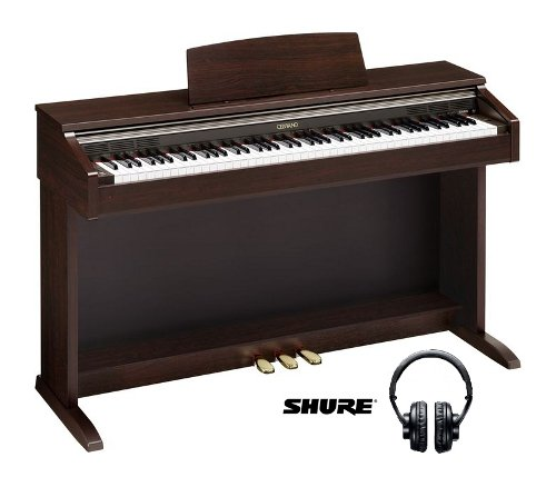 Casio AP220 Digital Piano Bundle (Brown) w/Free Shure SRH440 Headphones