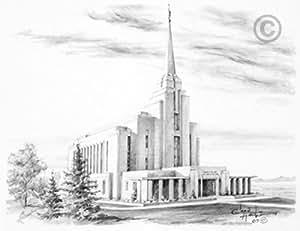 Amazon.com: LDS Rexburg Idaho Temple Chad Hawkins Sketch