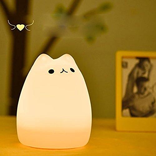 充電式テーブルランプ シリコーンベッドサイドランプ ウォームホワイト ナイトライト 多色変更LEDライト 雰囲気作り 二モード点灯 ギフト/おもちゃ/デコレーション  猫ちゃん (人気猫) 415ASkYWB2L