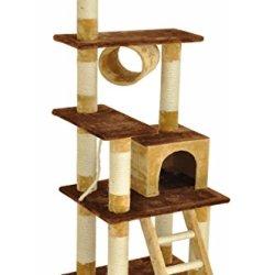 katzeninfo24.de nanook Katzen-Kratzbaum COSY, Größe L (172 cm), standfest mit Leiter, Spiel-Rolle und Spiel-Maus, hell-braun dunkel-braun