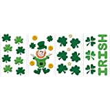 Gel Cling Window Decorations, Leprechaun/Shamrocks, 4-Pack Assortment