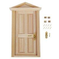1:12 Dollhouse Miniature Exterior Door Solid Wood 4 Panel ...