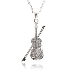 Silver Plated Crystal Violin and Bow Necklace