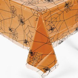Halloween Spider Web Design Plastic Table Cover 54 x 108