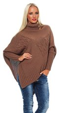 Mississhop Poncho Strick Sweatshirt Pullover Umhang Überwurf Einheitsgröße 36 38 40 S...