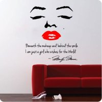 """LARGE 48"""" Marilyn Monroe Wall Decal Decor Quote Face Red ..."""