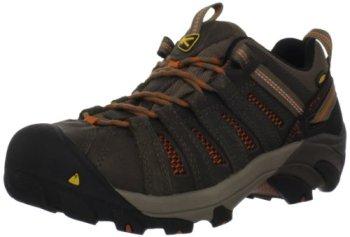 KEEN Utility Men's Flint Low Steel Toe Work Shoe,Shitake/Rust,12 D US