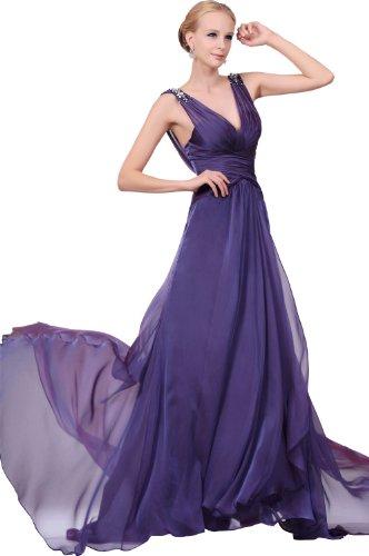 eDressit 2011 Tief V-Ausschnitt Lange Abendkleid mit kleiner Schleppe Gr.38