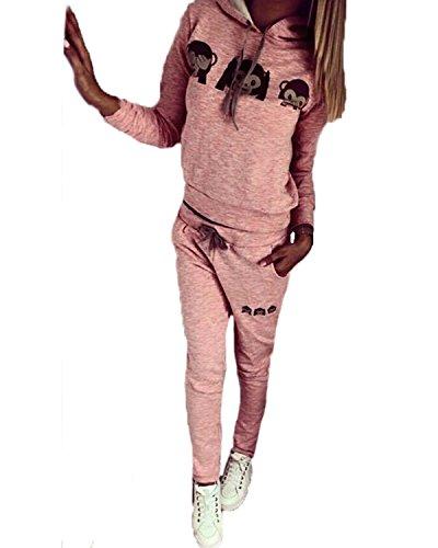 ZANZEA Damen Fitness Kapuzenpullover Hose Hoodie Sportanzug Jogginganzug Hausanzug