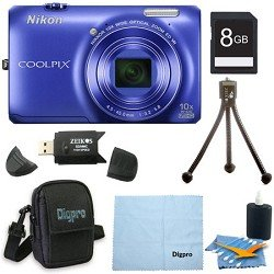 Nikon COOLPIX S6300 16MP 10x Opt Zoom 2.7 LCD Digital Camera 8GB Blue Bundle