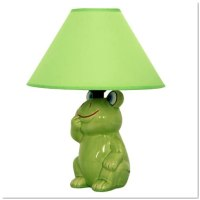 Green Frog Ceramic Table Lamp with Green Fabric Shade ...