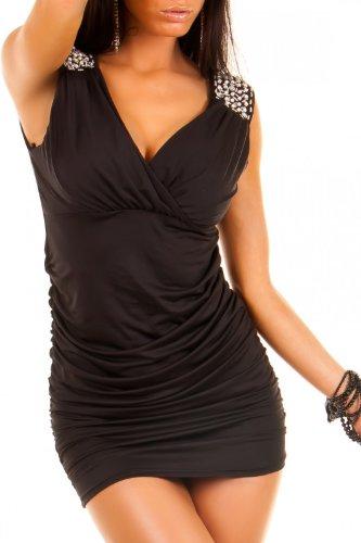 Sexy Damen Kleid Cocktailkleid Dress Minikleid Partykleid mit Perlen und Steinchen in 6 Farben Onesize 34-36-38