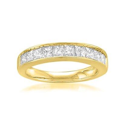 14k-Yellow-Gold-Princess-cut-11-Stone-Diamond-Bridal-Wedding-Band-Ring-1-cttw-J-K-SI1-SI2-Size-7