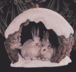 Snowshoe Rabbits in Winter Ornament
