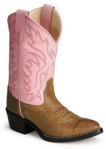 Old West Girls' Corona Calfskin Cowgirl Boot Tan 1 D(M) US