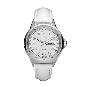 jam tangan Fossil Women's AM4336 White Leather Strap Silver Analog Dial Watch