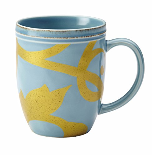 Rachael Ray Dinnerware Gold Scroll 12-Ounce Stoneware Beverage Mug, Agave Blue