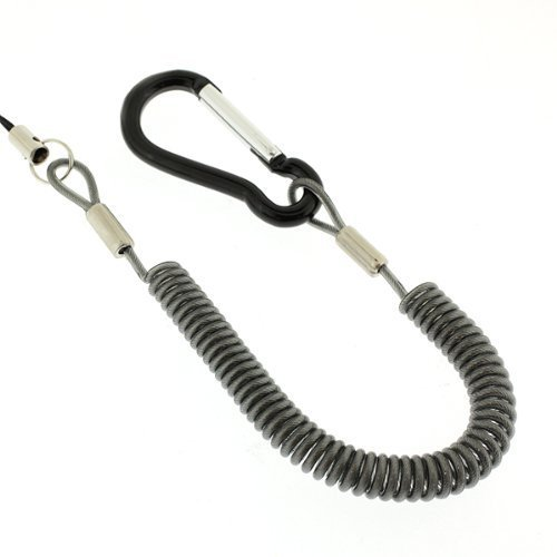 強力バンジーコイル携帯ストラップカラビナタイプ/ブラック