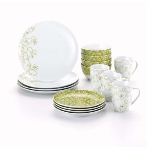 Rachael Ray Dinnerware Curly-Q 16-Piece Dinnerware Set, Green