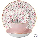 Royal Albert New Country Roses 3-Piece Confetti Tea Set, Cup, Sauer & Plate