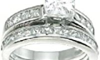 Princess Cut Cubic Zirconia CZ Wedding and Engagement Ring Set in Sterling Silver