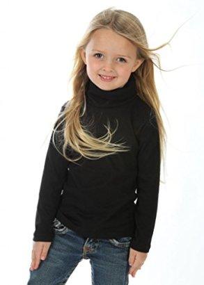 high5-Little-Girls-solid-Color-Turtleneck-100-Cotton-Size-3-Black