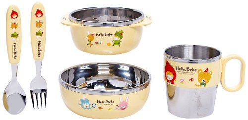 Lock&Lock Hello Bebe 4 Piece Baby Stainless Steel Feeding Set
