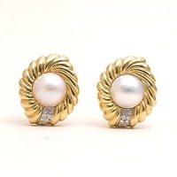 Estate Diamond Pearl 18k Gold Earrings | Your #1 Source ...