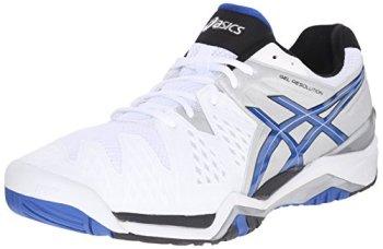 ASICS Men's Gel-Resolution 6 Tennis Shoe,White/Blue/Silver,9 D(M) US