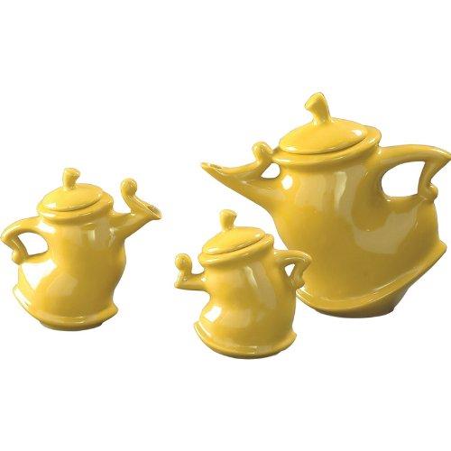 Howard Elliott Collection, 3-Piece Canary Whimsical Decorative Tea Pots.