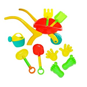 Beach Toy Deluxe Set - 10 pieces including Sand Wheelbarrow