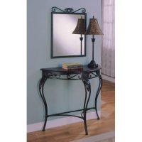 Amazon.com - 3pc Cherry / Black Entryway Hall Table Mirror ...
