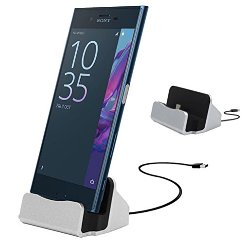 Sony Xperia X Compact / Xperia XZ 卓上ホルダー 【MaxKu 】 充電クレードル 充電スタンド USB Type-C ドック Sony Xperia X Compact / Xperia XZに対応 4色選択 銀