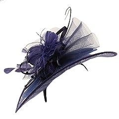 Big Kentucky Derby Feather Floral Organza Headband Fascinator Cocktail Hat Navy