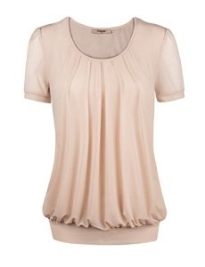 Timeson-Womens-Short-Sleeve-Scoop-Neck-Pleated-Front-Fitted-Blouse-Top