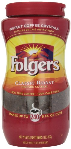 Folgers Instant Coffee Crystals Classic Roast 16 Ounce