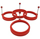 Ozera Nonstick Silicone Egg Ring Pancake Mold, Round Egg Rings Mold, Set of 4, red