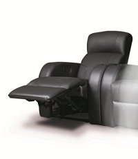 Recliner Chair with Cup-Holder in Black Leather ...