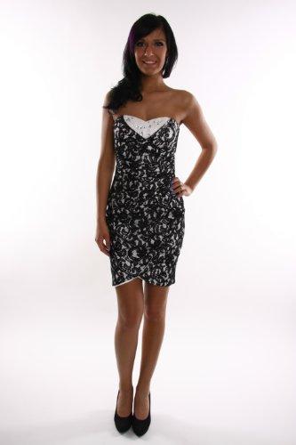 Modell 2065 Sexy Abendkleid knielang, schulterfrei schwarz-weiss mit Strass und Spitze Größe 42