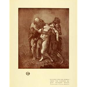 1921 Print Suzanna Elders Daniel Bible Catholic Nude - Original Color Print