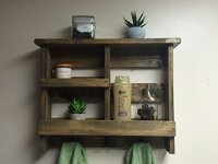 Bathroom Shelf,Rustic Bath Towel Rack, metal hooks ...