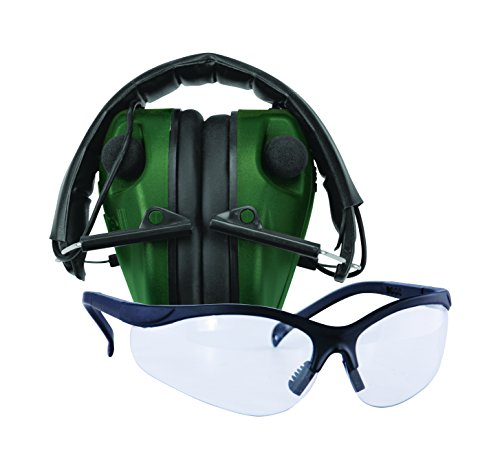 Caldwell E-Max LoPro Electronic Muffs with Shooting Glasses, Green