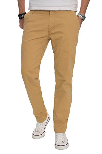 A. Salvarini Herren Designer Chino Stoff Hose Chinohose Regular Fit AS016