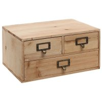 3 Drawers Small Rustic Natural Wood Storage Cabinet ...