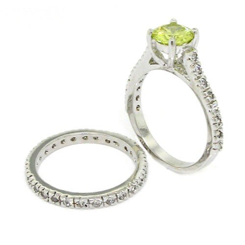 Classic/Vintage Wedding Ring Set w/Peridot, White CZs Size