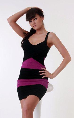 Minikleid in schwarz/violett
