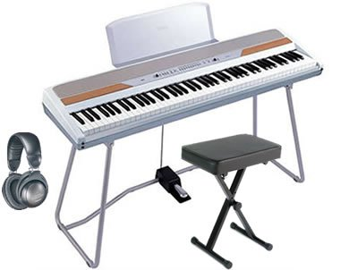 Korg SP-250WT White Piano ESSENTIALS BUNDLE w/ Bench & Headphones