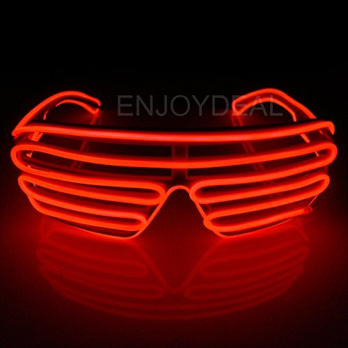 Enjoydeal El Wire Neon LED Light Up Shutter Shaped Glasses (Red)