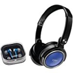 Coby CV215BLU Deep Bass Stereo Headphones and Earphones (Blue) for $11.08 + Shipping
